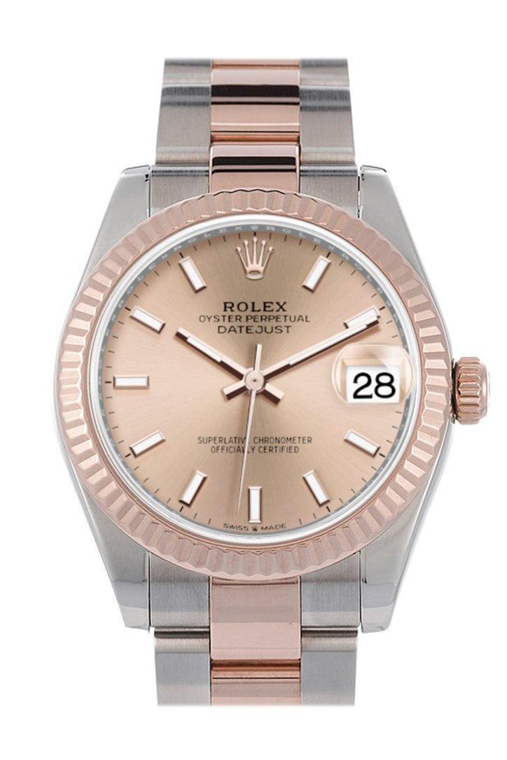 Rolex Datejust 31 Rose Dial Fluted Bezel 18K Everose Gold Two Tone Watch 278271