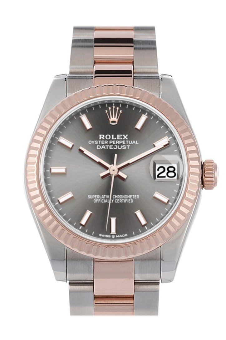 Rolex Datejust 31 Dark Rhodium Dial Fluted Bezel 18K Everose Gold Two Tone Watch 278271
