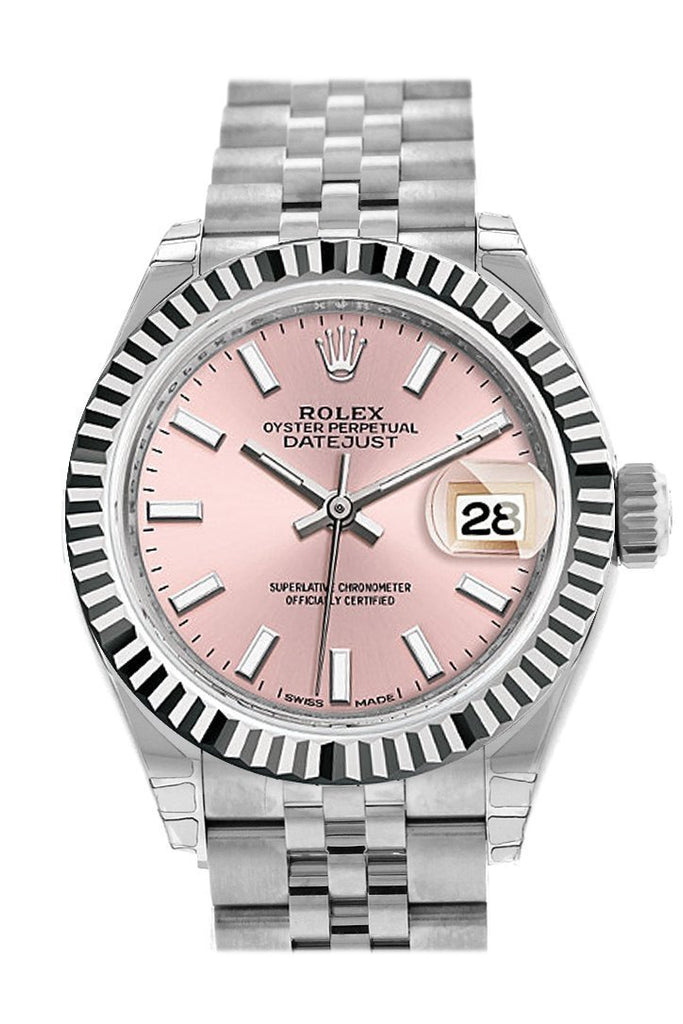 Rolex Datejust 28 Pink Dial Fluted Bezel Steel Jubilee Ladies Watch 279174