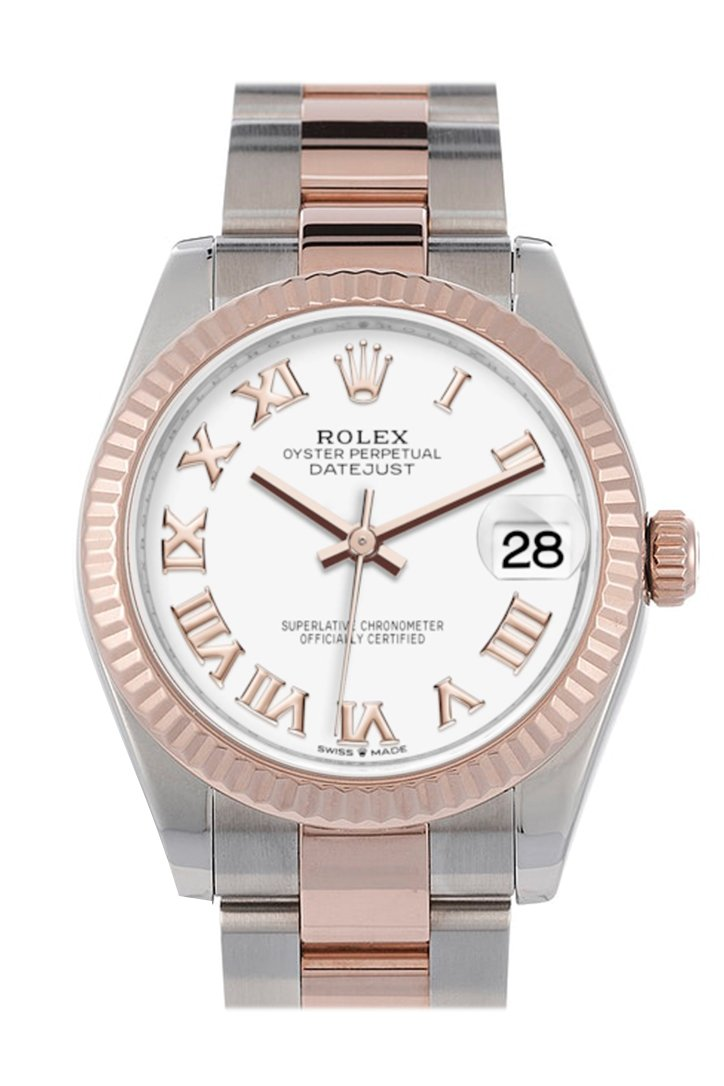 Rolex Datejust 31 White Roman Dial Fluted Bezel 18K Everose Gold Two Tone Watch 278271