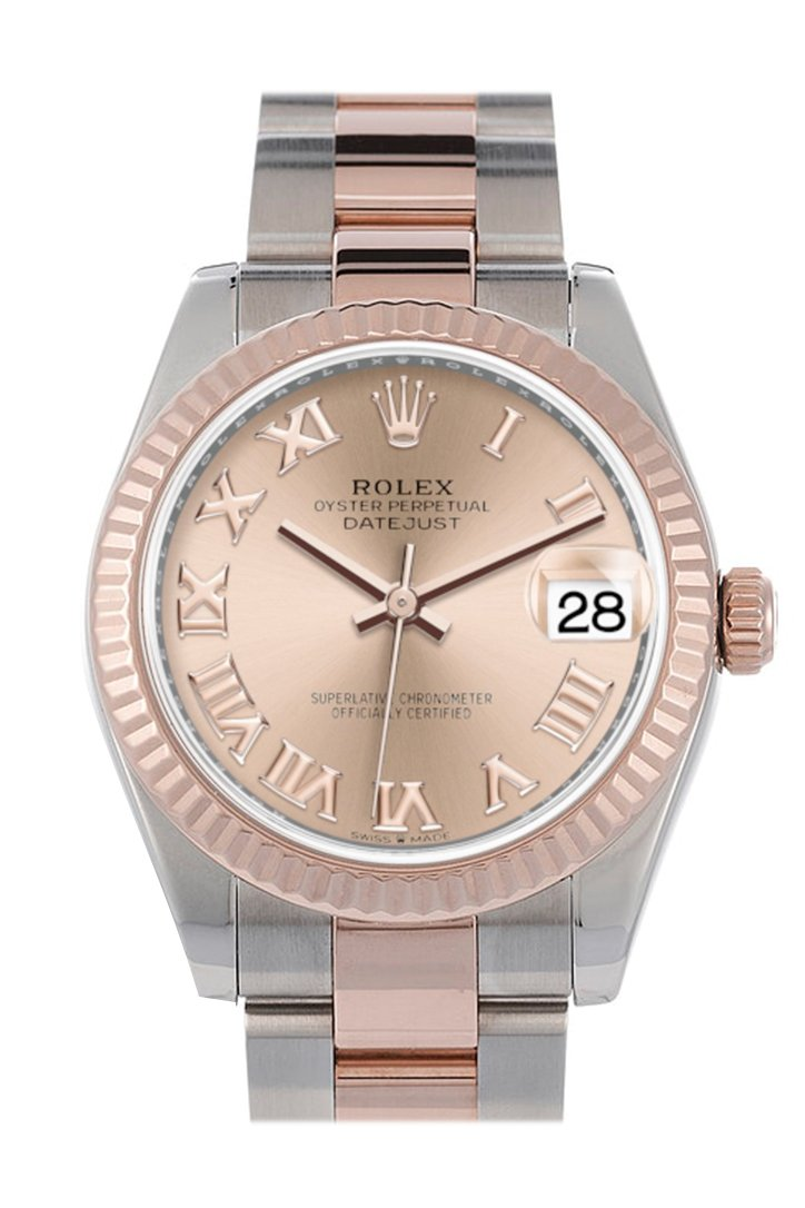 Rolex Datejust 31 Rose Roman Dial Fluted Bezel 18K Everose Gold Two Tone Watch 278271