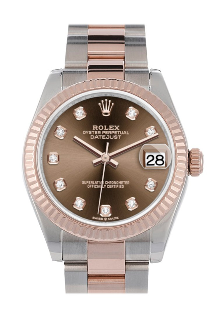 Rolex Datejust 31 Chocolate Diamond Dial Fluted Bezel 18K Everose Gold Two Tone Watch 278271