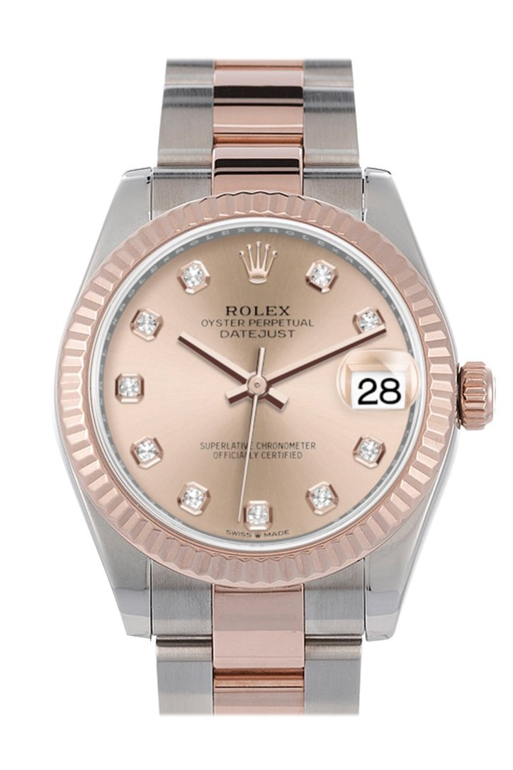 Rolex Datejust 31 Rose Diamond Dial Fluted Bezel 18K Everose Gold Two Tone Watch 278271