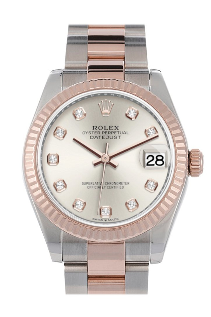 Rolex Datejust 31 Silver Diamond Dial Fluted Bezel 18K Everose Gold Two Tone Watch 278271