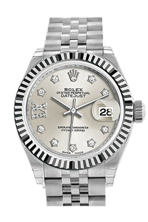 Rolex Datejust 28 Silver Roman Large Vi Set With Diamonds Dial Fluted Bezel Steel Jubilee Ladies
