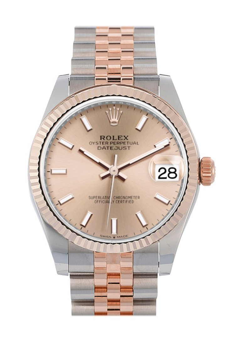 Rolex Datejust 31 Rose Dial Fluted Bezel 18K Everose Gold Two Tone Jubilee Watch 278271
