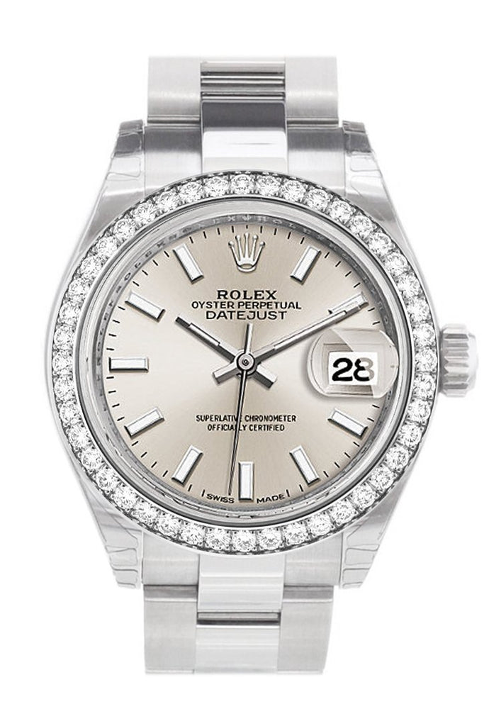 Rolex Datejust 28 Silver Dial Diamond Bezel Steel Ladies Watch 279384Rbr