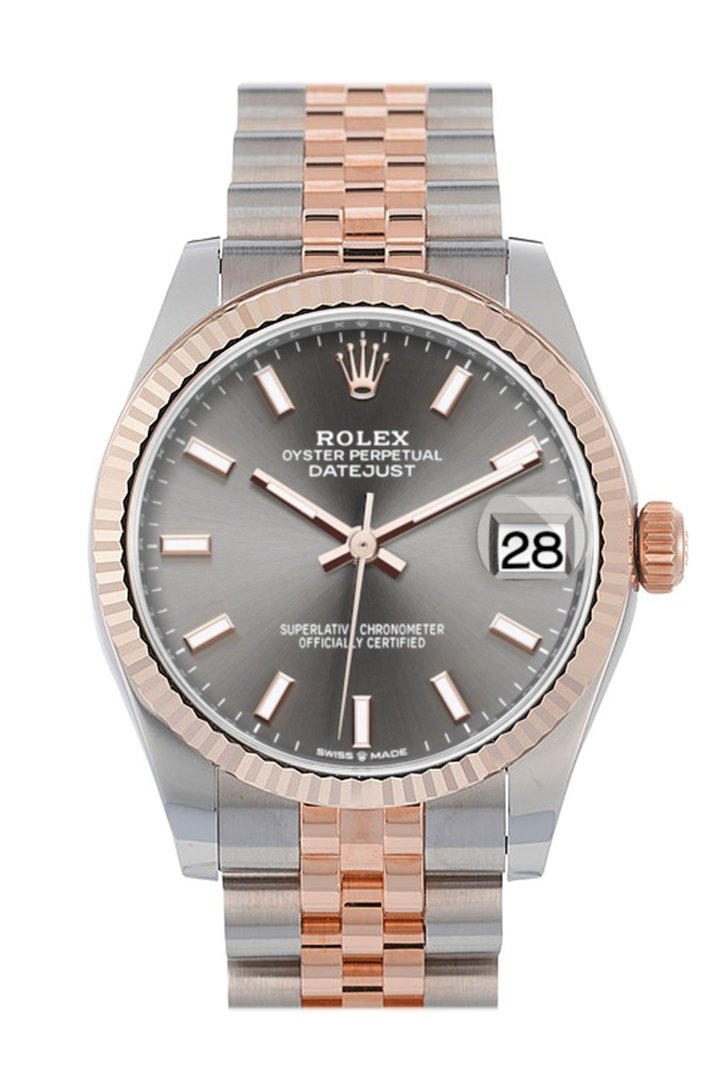 Rolex Datejust 31 Dark Rhodium Dial Fluted Bezel 18K Everose Gold Two Tone Jubilee Watch 278271