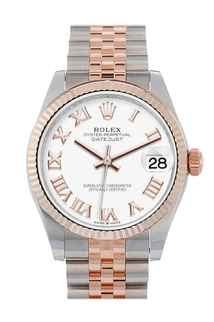 Rolex Datejust 31 White Roman Dial Fluted Bezel 18K Everose Gold Two Tone Jubilee Watch 278271