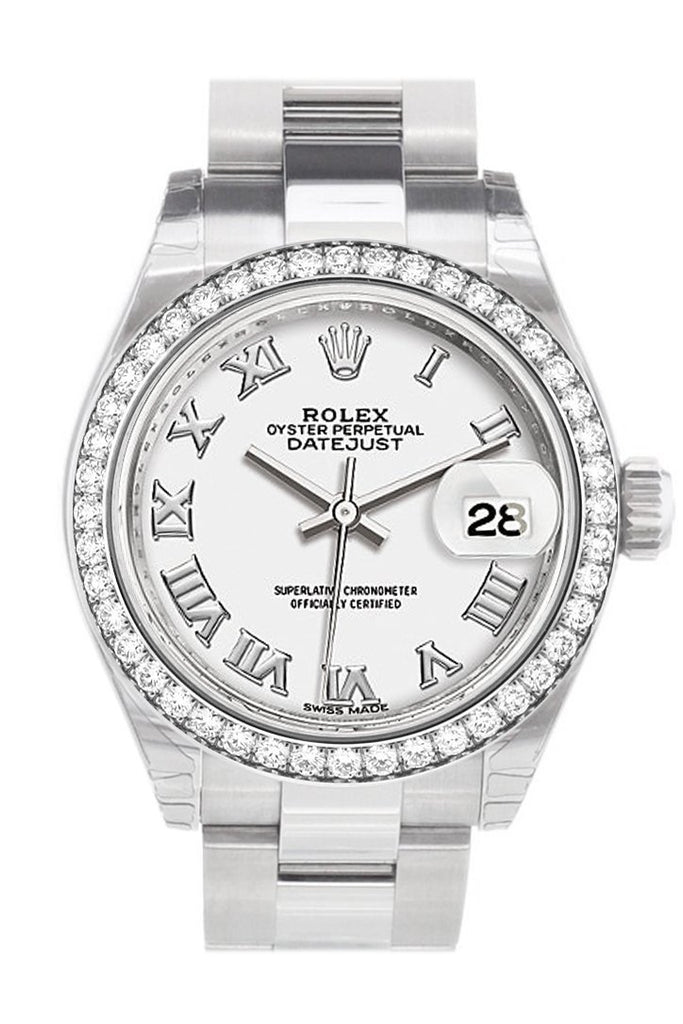 Rolex Datejust 28 White Roman Dial Diamond Bezel Steel Ladies Watch 279384Rbr