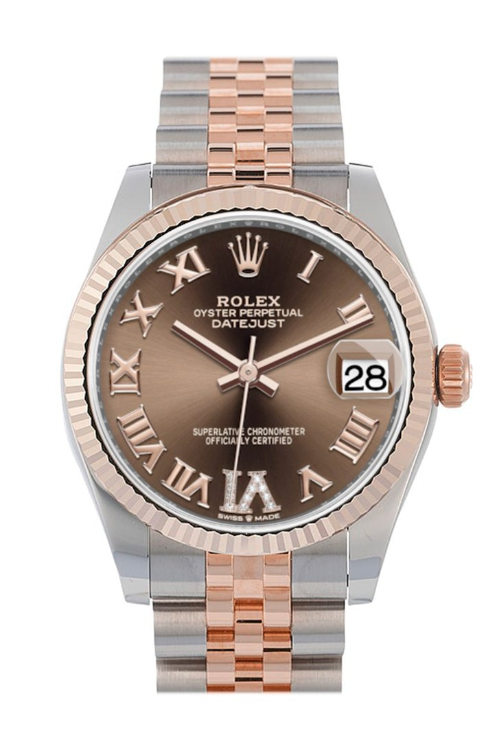 Rolex Datejust 31 Chocolate Large VI set with diamonds Dial Fluted Bezel 18K Everose Gold Two Tone Jubilee Watch 278271