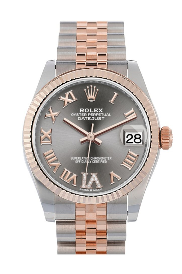 Rolex Datejust 31 Rhodium Large VI set with diamonds Dial Fluted Bezel 18K Everose Gold Two Tone Jubilee Watch 278271
