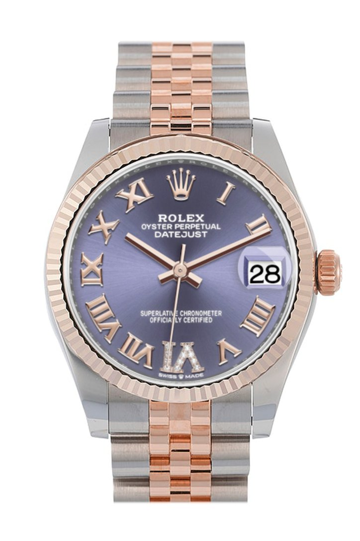 Rolex Datejust 31 Aubergine Large VI set with diamonds Dial Fluted Bezel 18K Everose Gold Two Tone Jubilee Watch 278271