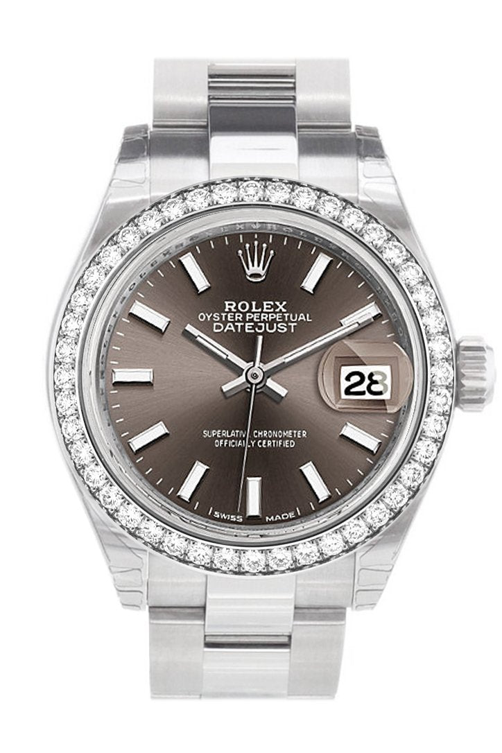 Rolex Datejust 28 Dark Grey Dial Diamond Bezel Steel Ladies Watch 279384Rbr