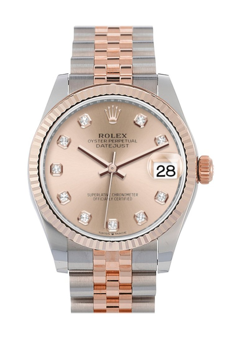 Rolex Datejust 31 Rose Diamond Dial Fluted Bezel 18K Everose Gold Two Tone Jubilee Watch 278271