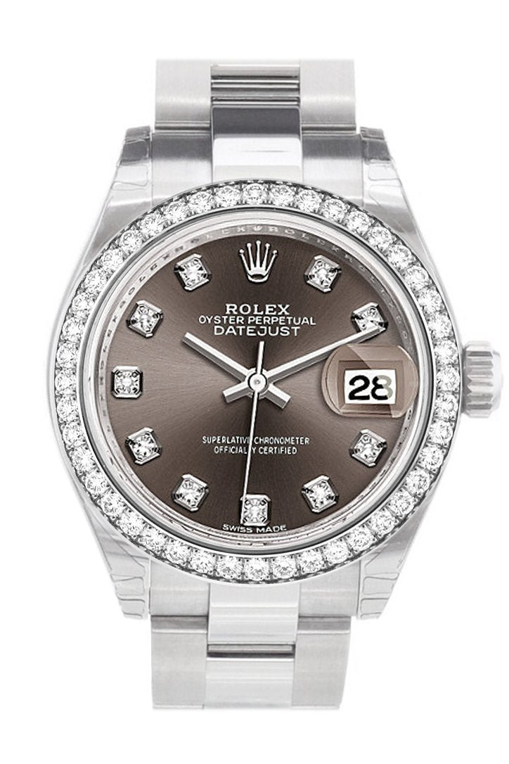 Rolex Datejust 28 Dark Grey Set With Diamonds Dial Diamond Bezel Steel Ladies Watch 279384Rbr
