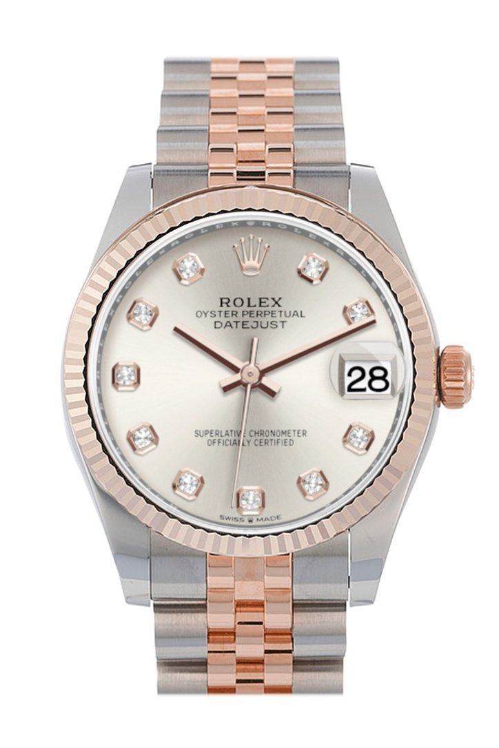 Rolex Datejust 31 Silver Diamond Dial Fluted Bezel 18K Everose Gold Two Tone Jubilee Watch 278271