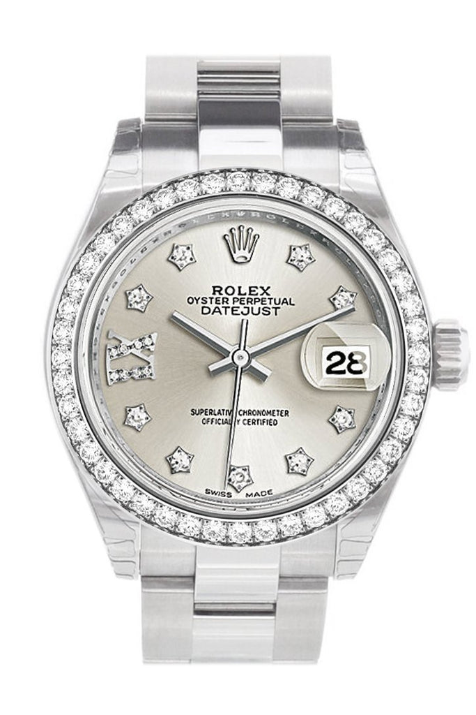 Rolex Datejust 28 Silver Roman Large Vi Set With Diamonds Dial Diamond Bezel Steel Ladies Watch