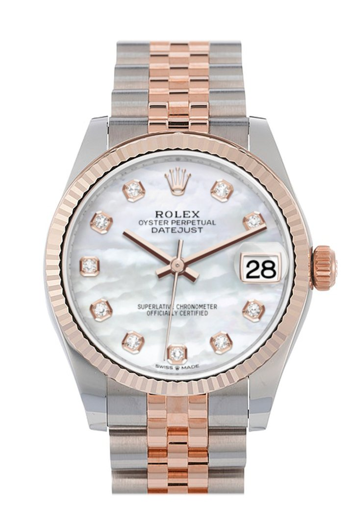 Rolex Datejust 31 Pearl Diamond Dial Fluted Bezel 18K Everose Gold Two Tone Jubilee Watch 278271