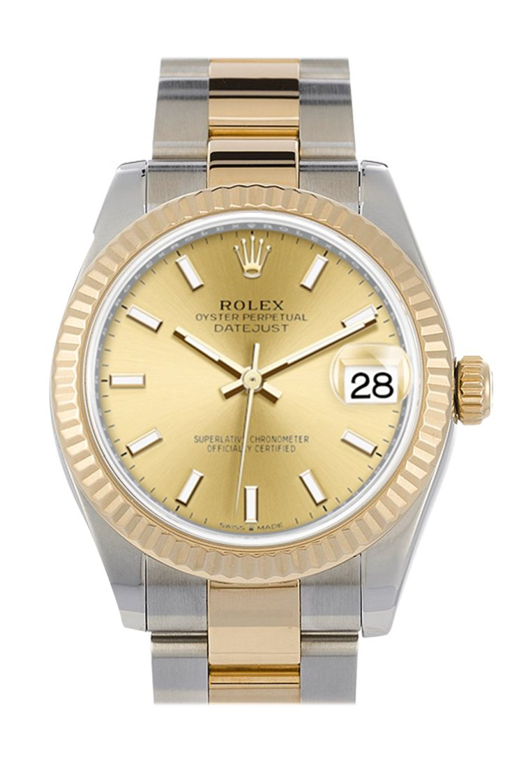 Rolex Datejust 31 Champagne Dial Fluted Bezel 18K Yellow Gold Two Tone Watch 278273