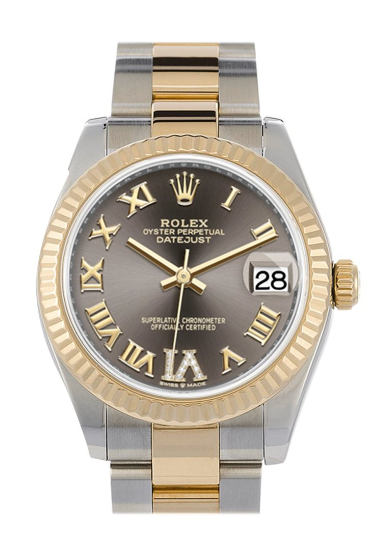 Rolex Datejust 31 Dark Grey Large VI set with Diamonds Dial Fluted Bezel 18K Yellow Gold Two Tone Watch 278273