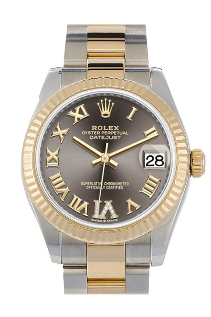Rolex Datejust 31 Dark Grey Large Vi Set With Diamonds Dial Fluted Bezel 18K Yellow Gold Two Tone
