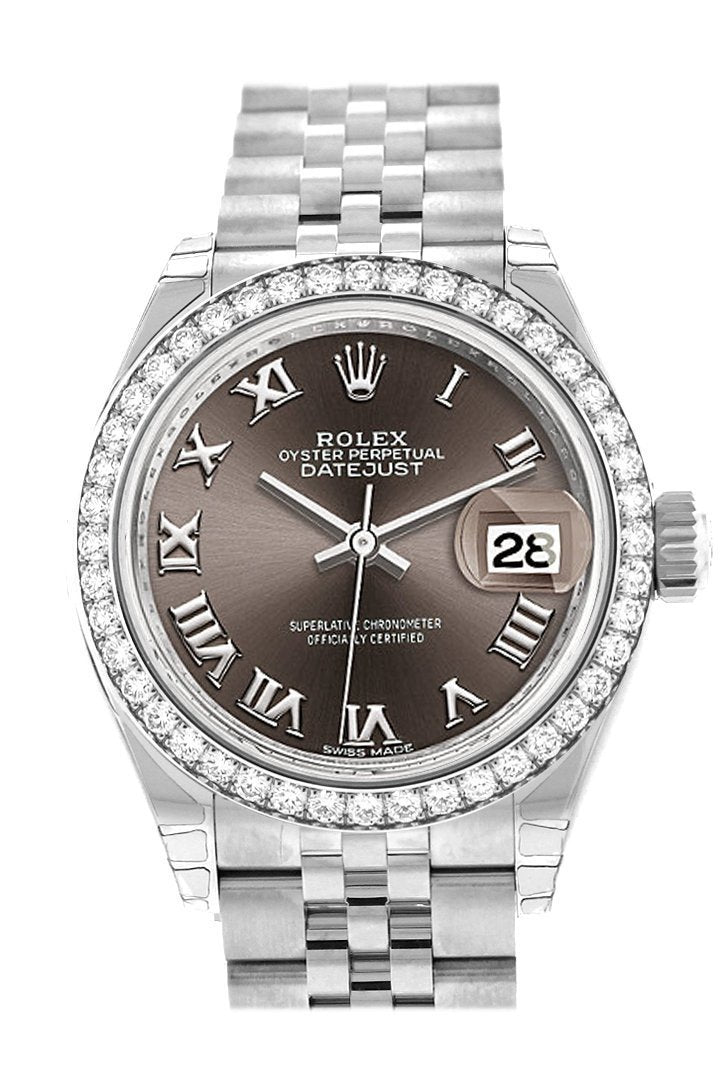 Rolex Datejust 28 Dark Grey Roman Dial Diamond Bezel Steel Jubilee Ladies Watch 279384Rbr