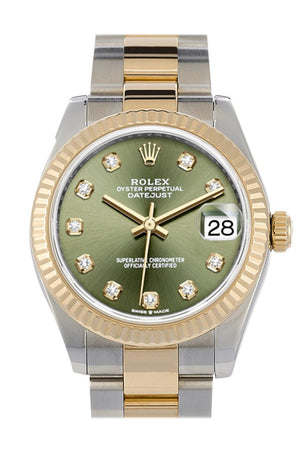Rolex Datejust 31 Olive Green Diamond Dial Fluted Bezel 18K Yellow Gold Two Tone Watch 278273
