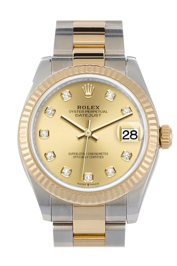 Rolex Datejust 31 Champagne Diamond Dial Fluted Bezel 18K Yellow Gold Two Tone Watch 278273
