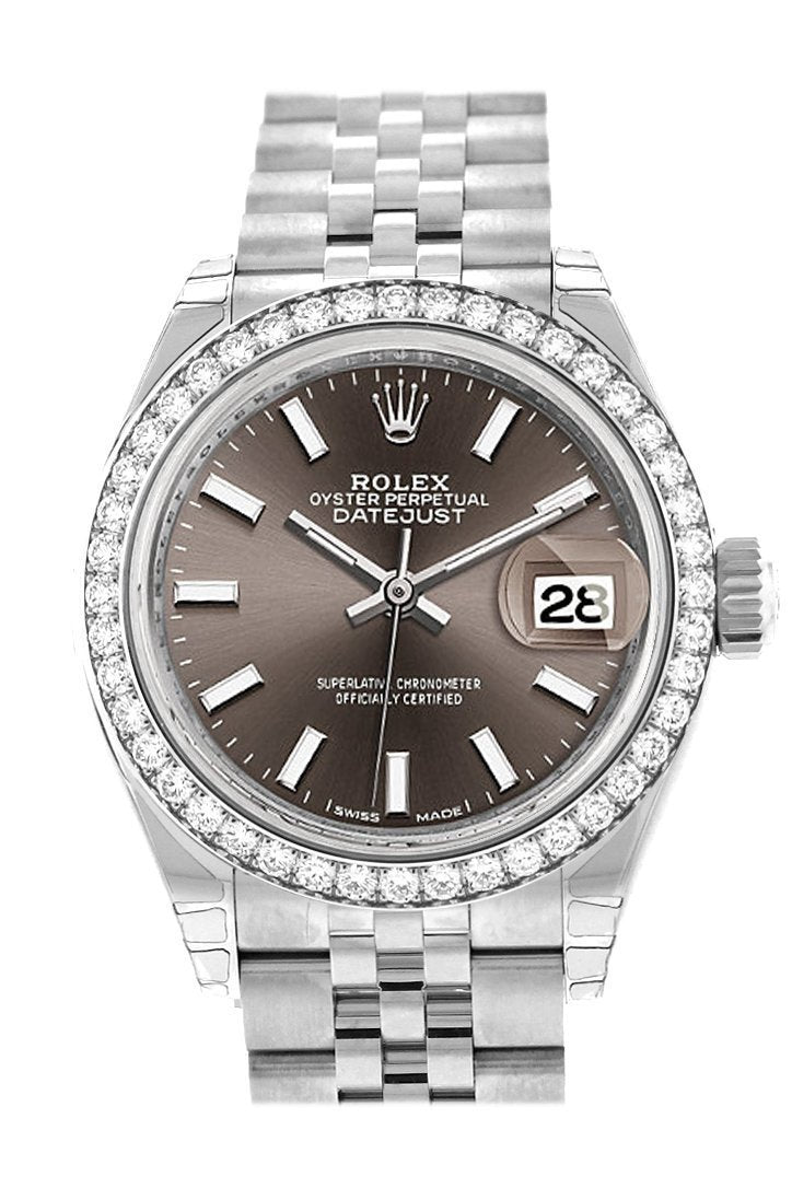 Rolex Datejust 28 Dark Grey Dial Diamond Bezel Steel Jubilee Ladies Watch 279384Rbr