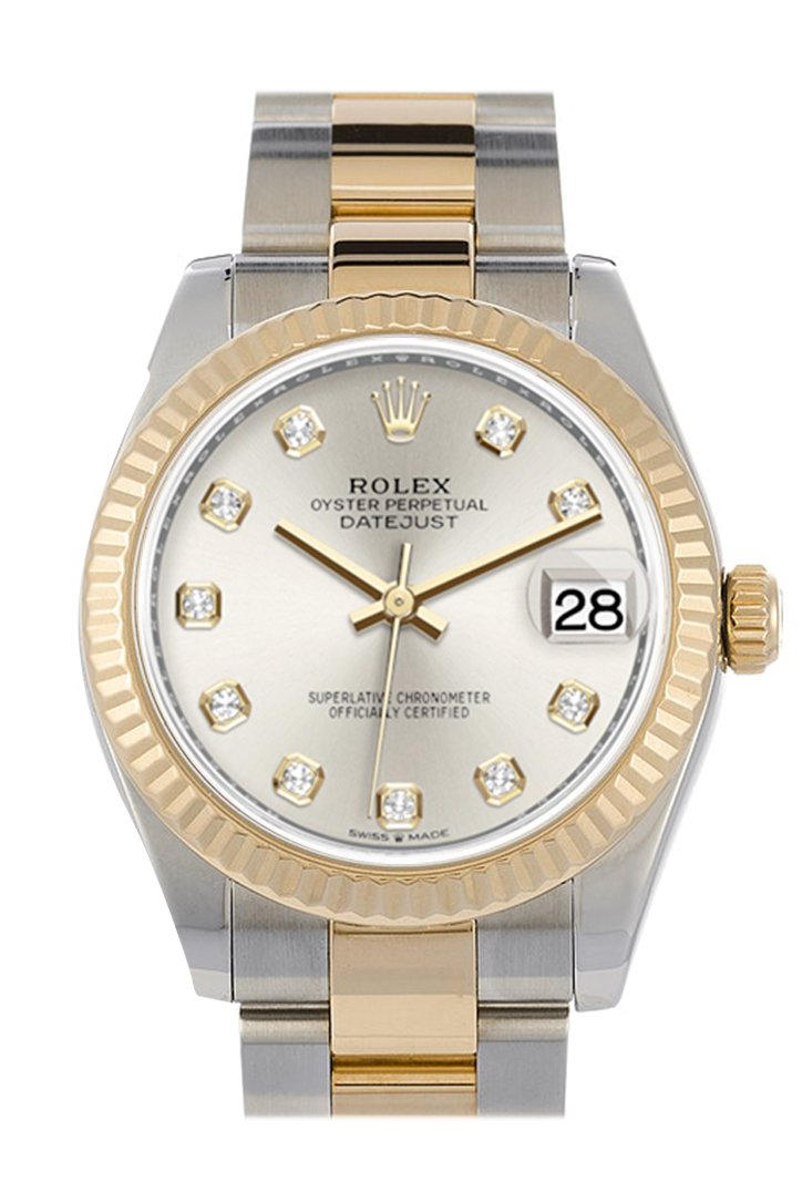 Rolex Datejust 31 Silver Diamond Dial Fluted Bezel 18K Yellow Gold Two Tone Watch 278273