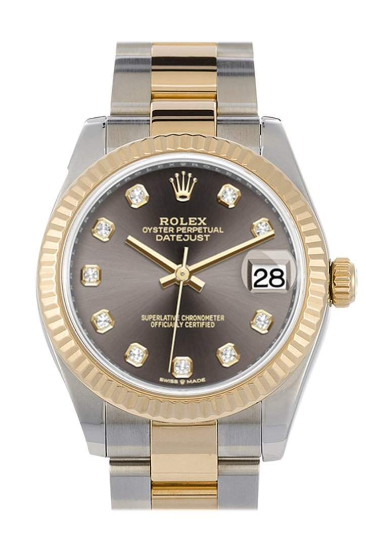 Rolex Datejust 31 Dark Grey Dial Fluted Bezel 18K Yellow Gold Two Tone Watch 278273