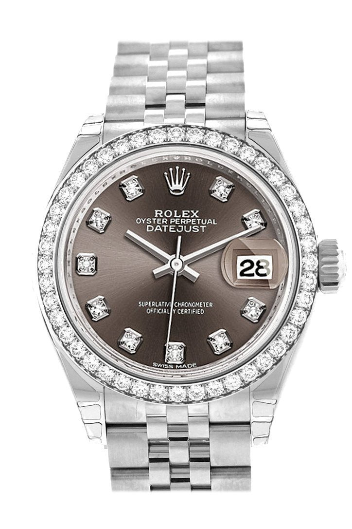 Rolex Datejust 28 Dark Grey Set With Diamonds Dial Diamond Bezel Steel Jubilee Ladies Watch