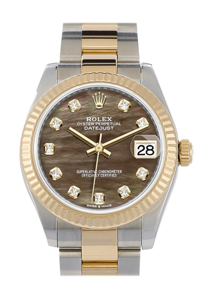 Rolex Datejust 31 Black Mother-Of-Pearl Diamond Dial Fluted Bezel 18K Yellow Gold Two Tone Watch