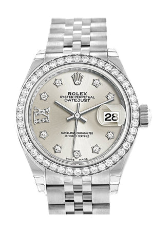 Rolex Datejust 28 Silver Roman Large Vi Set With Diamonds Dial Diamond Bezel Steel Jubilee Ladies