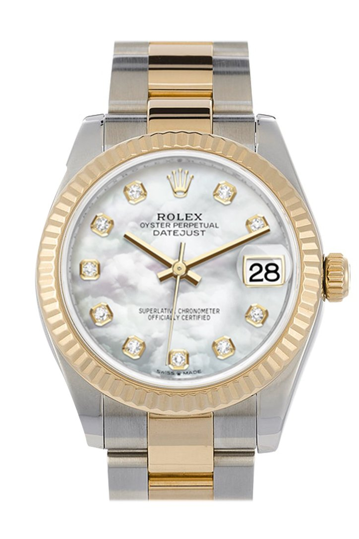 Rolex Datejust 31 White mother-of-pearl Diamond Dial Fluted Bezel 18K Yellow Gold Two Tone Watch 278273