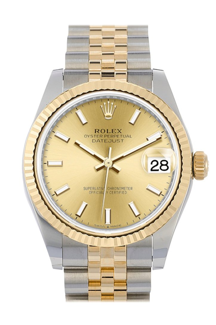 Rolex Datejust 31 Champagne Dial Fluted Bezel 18K Yellow Gold Two Tone Jubilee Watch 278273