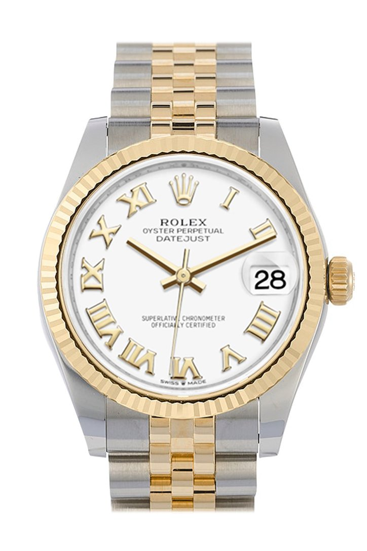 Rolex Datejust 31 White Roman Dial Fluted Bezel 18K Yellow Gold Two Tone Jubilee Watch 278273