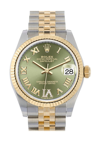Rolex Datejust 31 Olive Green Large Vi Set With Diamonds Dial Fluted Bezel 18K Yellow Gold Two Tone