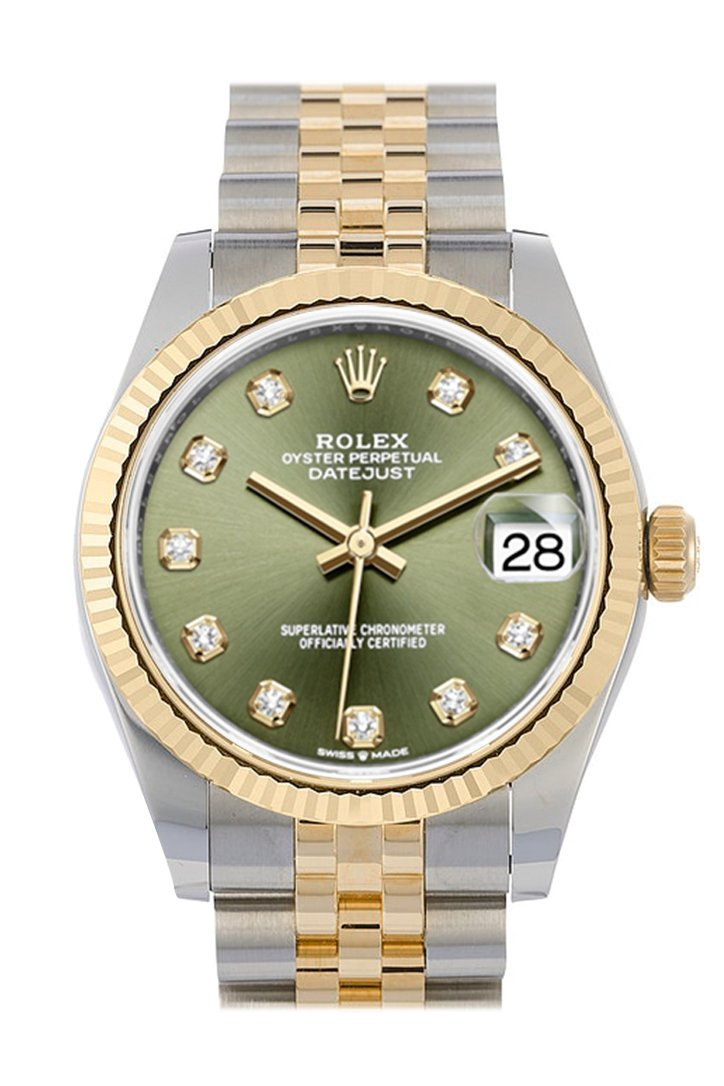 Rolex Datejust 31 Olive Green Diamond Dial Fluted Bezel 18K Yellow Gold Two Tone Jubilee Watch 278273