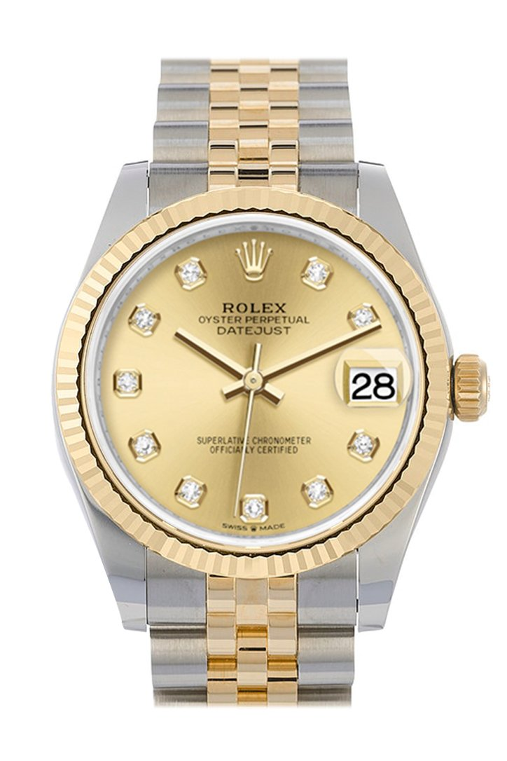Rolex Datejust 31 Champagne Diamond Dial Fluted Bezel 18K Yellow Gold Two Tone Jubilee Watch 278273