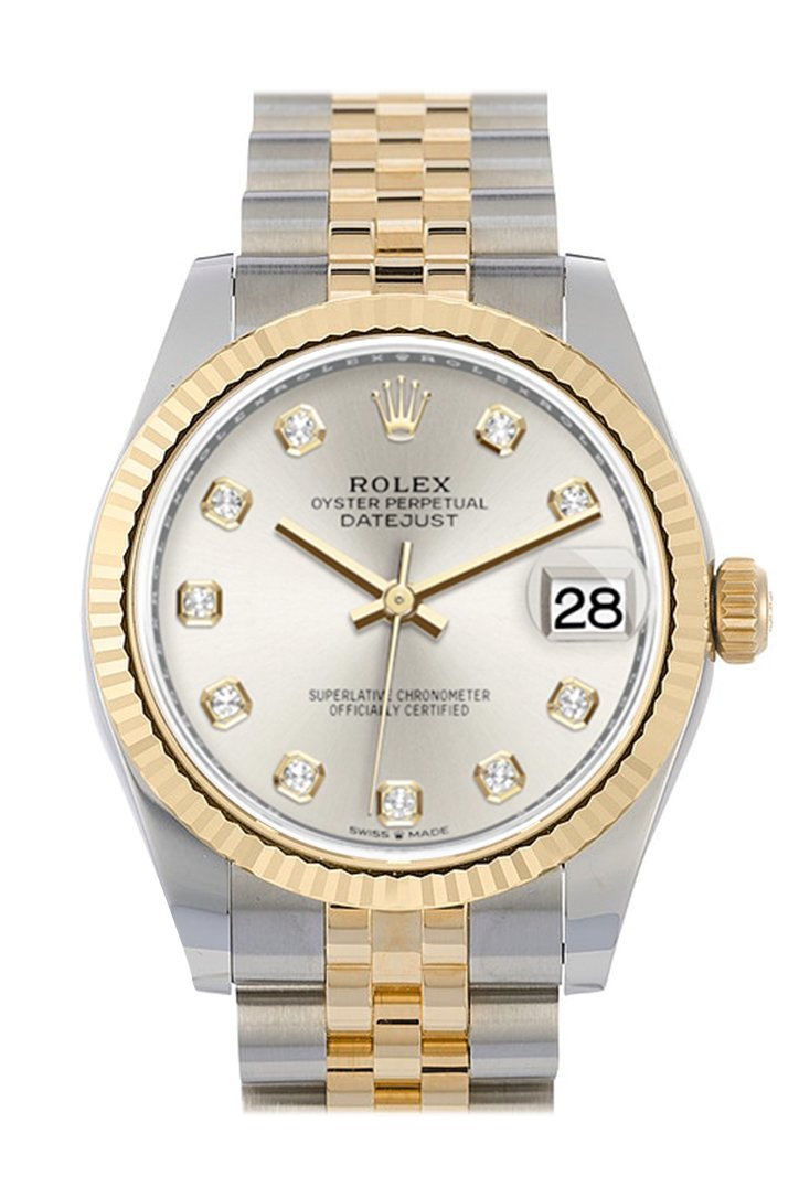 Rolex Datejust 31 Silver Diamond Dial Fluted Bezel 18K Yellow Gold Two Tone Jubilee Watch 278273