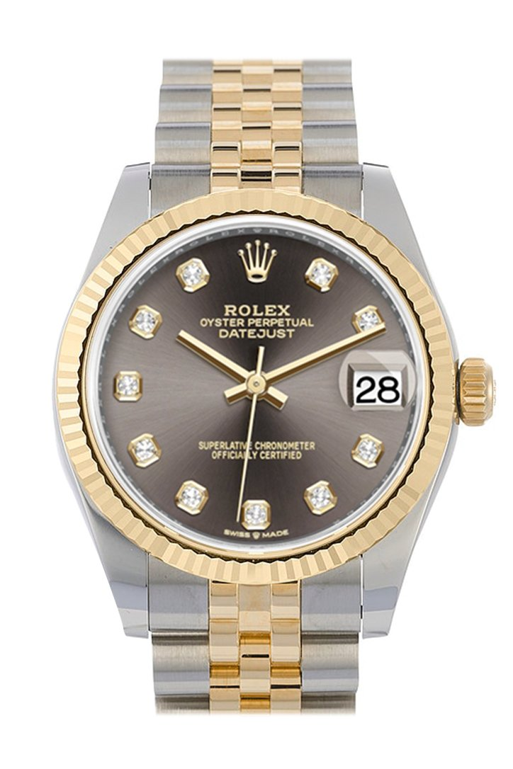 Rolex Datejust 31 Dark Grey Dial Fluted Bezel 18K Yellow Gold Two Tone Jubilee Watch 278273