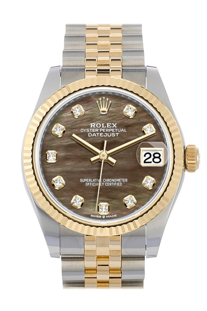 Rolex Datejust 31 Black mother-of-pearl Diamond Dial Fluted Bezel 18K Yellow Gold Two Tone Jubilee Watch 278273