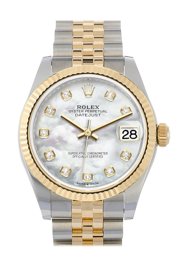 Rolex Datejust 31 White Mother-Of-Pearl Diamond Dial Fluted Bezel 18K Yellow Gold Two Tone Jubilee