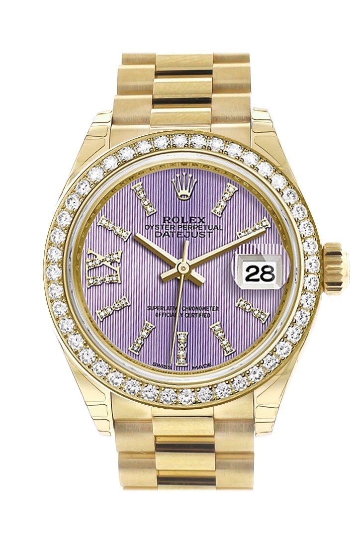 Rolex Datejust 28 Lilac Large Roman Diamonds Dial Dia Diamond Bezel President Ladies Watch 279138Rbr
