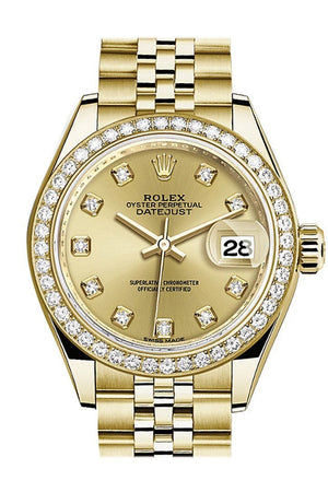 Rolex Datejust 28 Champagne Diamond Dial Bezel Jubilee Ladies Watch 279138Rbr / None