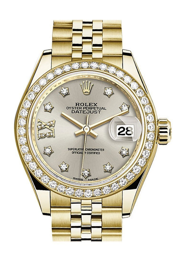Rolex Datejust 28 Silver Star Diamond Dial Bezel Jubilee Ladies Watch 279138Rbr / None