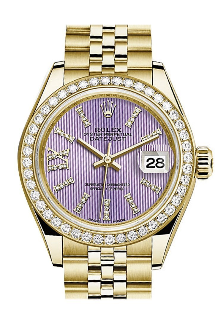 Rolex Datejust 28 Lilac Large Roman Diamonds Dial Diamond Bezel Jubilee Ladies Watch 279138Rbr /