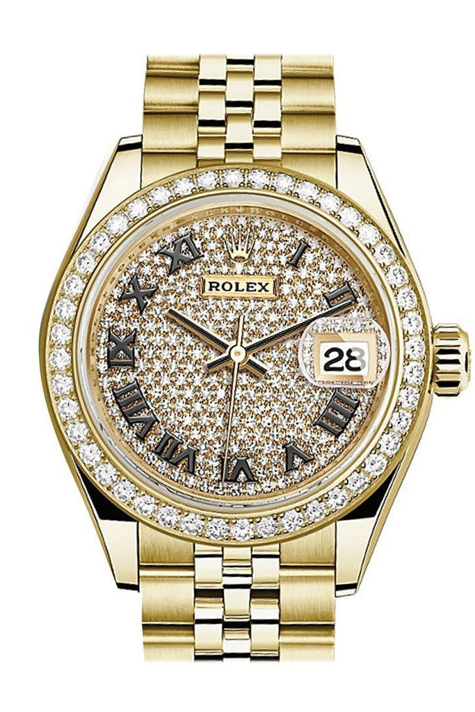 Rolex Datejust 28 Diamond Paved Dial Bezel Jubilee Ladies Watch 279138Rbr / None